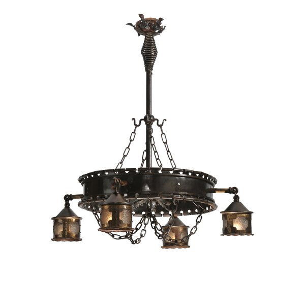 Whittemore 4 - Light Shaded Wagon Wheel Chandelier By Fleur De Lis Living