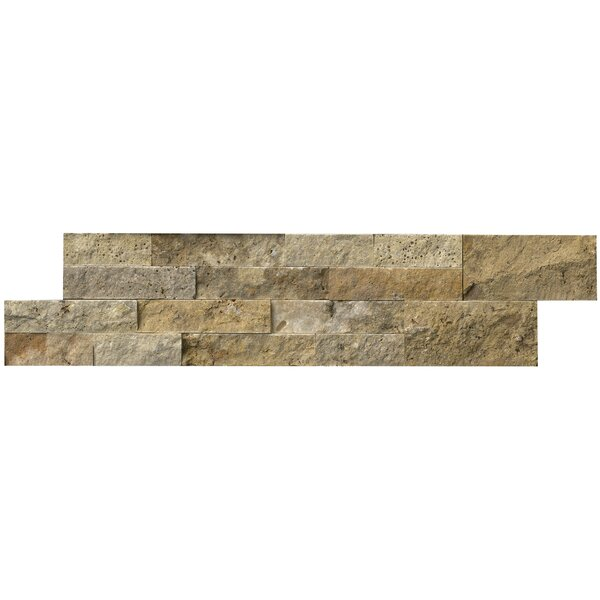 Tuscany 6 x 24 Travertine Panel Random Natural Sized Stone Splitfaced Tile in Brown and Gold by MSI