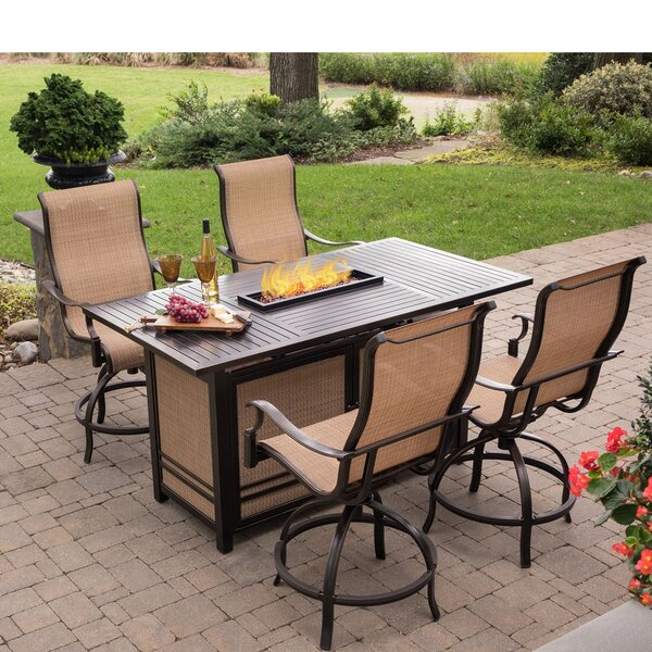 Bucci 5 Pieces High-Dining Set with Firepit