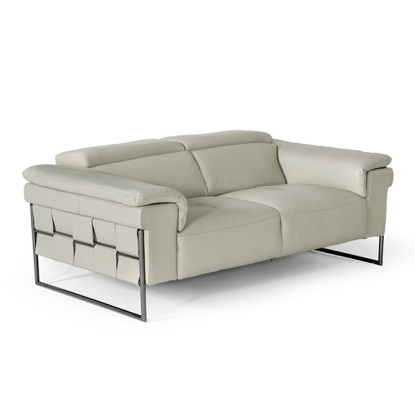 Compare Price Niel Genuine Leather 72'' Pillow Top Arm Loveseat
