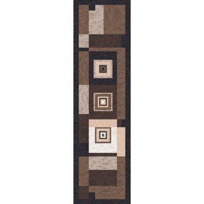 Pastiche Bloques Brown Leather Contemporary Runner by Milliken