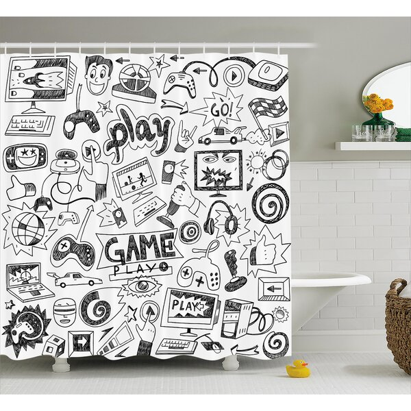 Video Games Black and White Shower Curtain by East Urban Home
