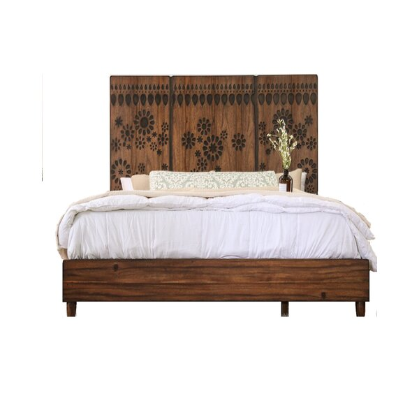 Turco Burnt Wood Floral Pattern Design Panel Standard Bed by Canora Grey