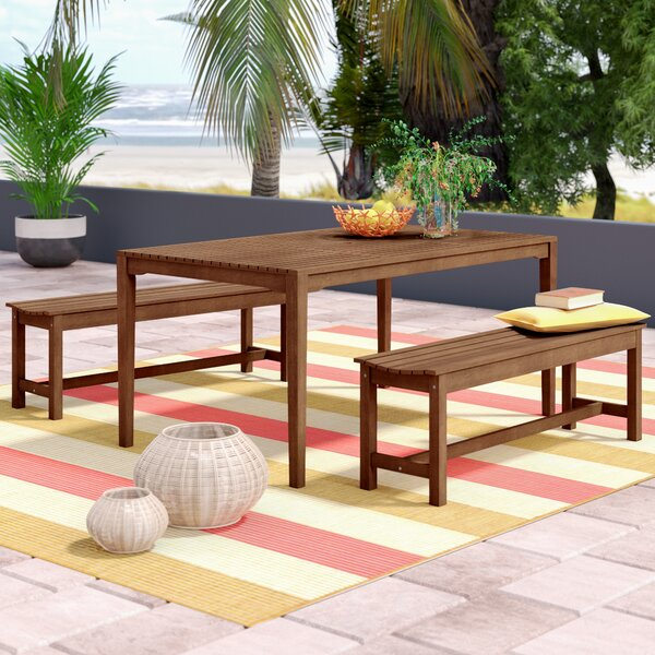 Moana Bench 3 Piece Dining Set by Beachcrest Home