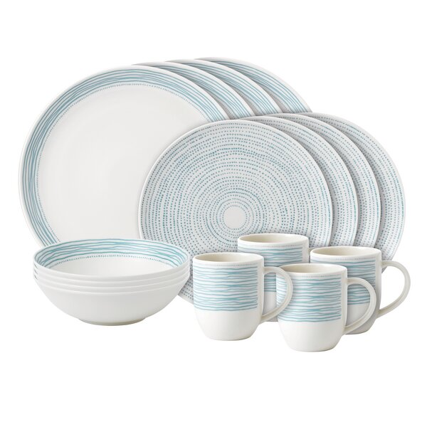 Dots 16 Piece Dinnerware Set, Service for 4 by ED Ellen DeGeneres Crafted by Royal Doulton