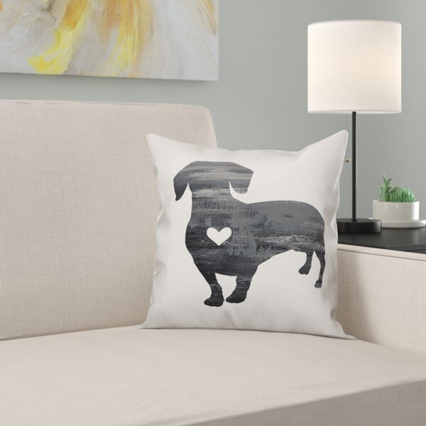 Nunlist Silhouette Dachshund Throw Pillow in , Cover Only by East Urban Home