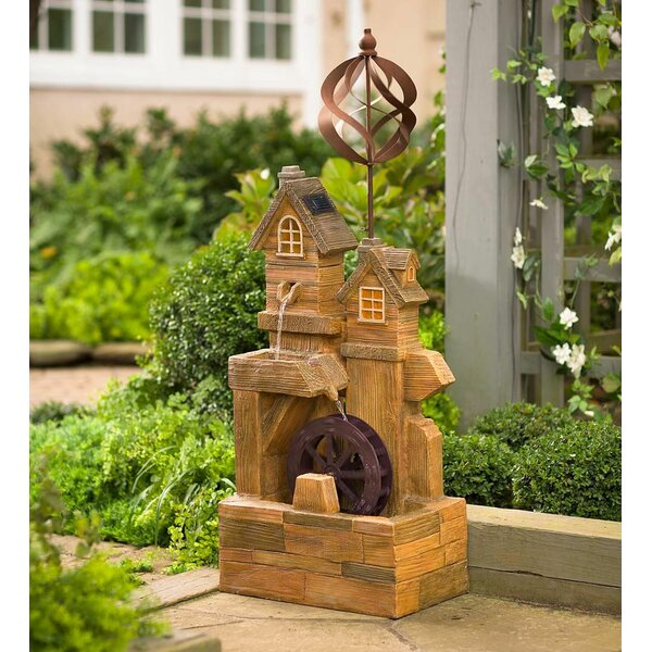 Resin Solar Watermill Fountain Spinner with Light by Plow & Hearth