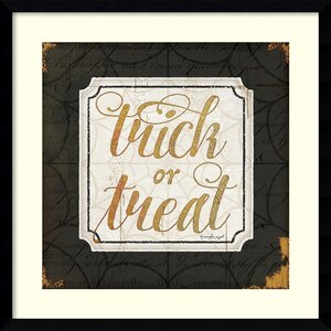 Trick or Treat Gold Halloween Framed Textual Art by The Holiday Aisle