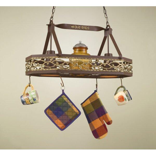 Napa Hanging Pot Rack with 2 Lights by Hi-Lite