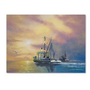 'Work on the Water' Graphic Art Print on Wrapped Canvas by Trademark Fine Art