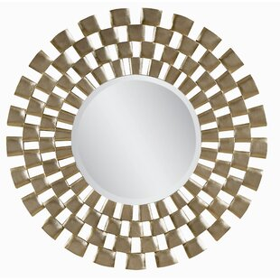 House of Hampton Sunburst Antique Silver Leaf and Gold-Washed Plastic Wall Mirror