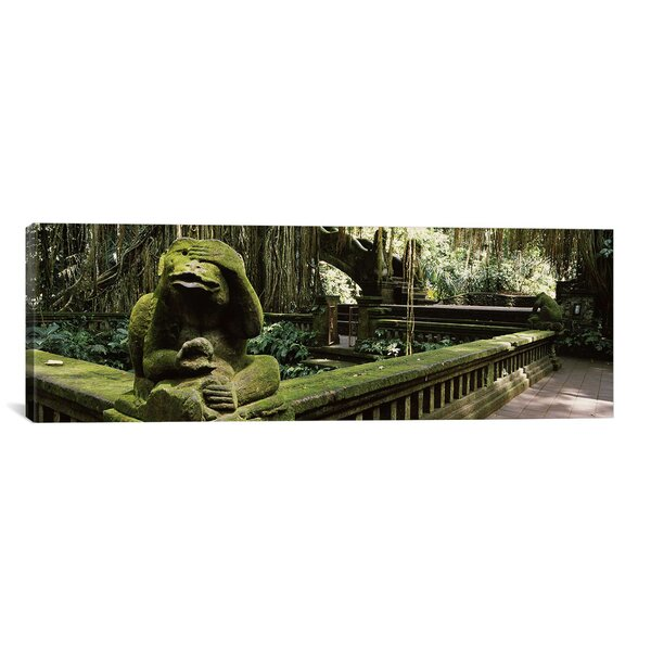 Panoramic Statue of a Monkey in a Temple, Bathing Temple, Ubud Monkey Forest, Ubud, Bali, Indonesia Photographic Print on Wrapped Canvas by iCanvas