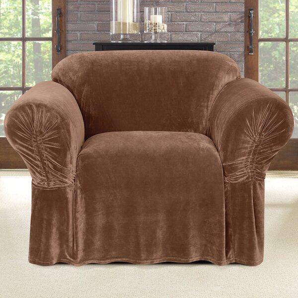 Review Stretch Plush Box Cushion Armchair Slipcover