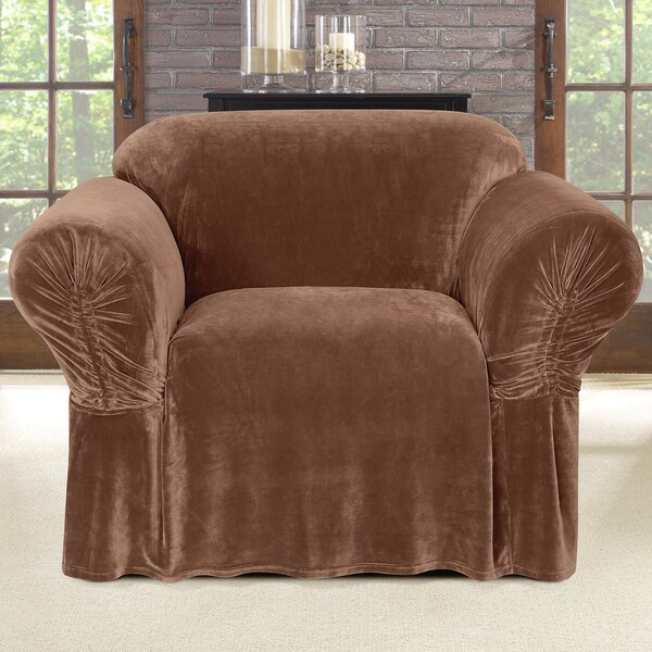 Compare Price Stretch Plush Box Cushion Armchair Slipcover