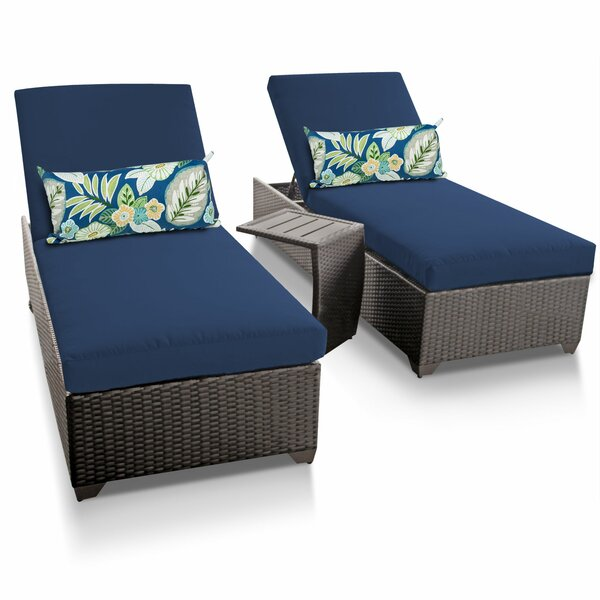 Tegan Reclining Sun Chaise Lounge Set with Cushion and Table (Set of 2)