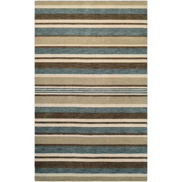 Russell Hand-Knotted Ivory/Teal Area Rug by Breakwater Bay