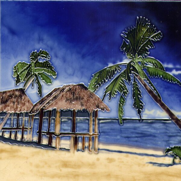 Palm with Palapa Tile Wall Decor by Continental Art Center