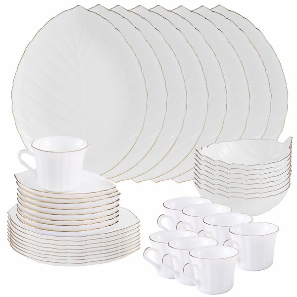 Matashi Gold Rimmed Vine Collection Opal 40 Piece Glassware Dinnerware Set, Service for 8 by Alcott Hill