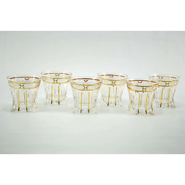 Square Based Double Old Fashion Glasses (Set of 6) by Three Star Im/Ex Inc.
