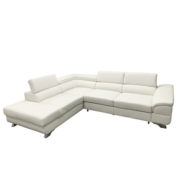 Review Shirlee Left Hand Facing Leather Sleeper Sectional