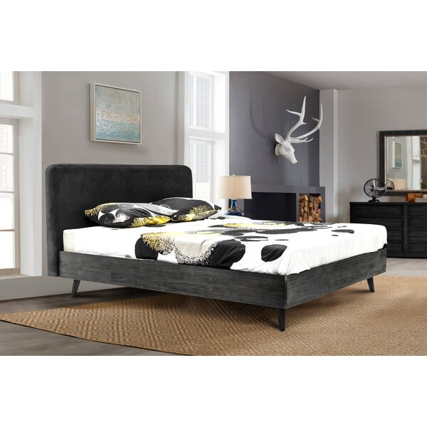 Mohave Mid-Century Tundra Upholstered Acacia Platform Bed by Armen Living