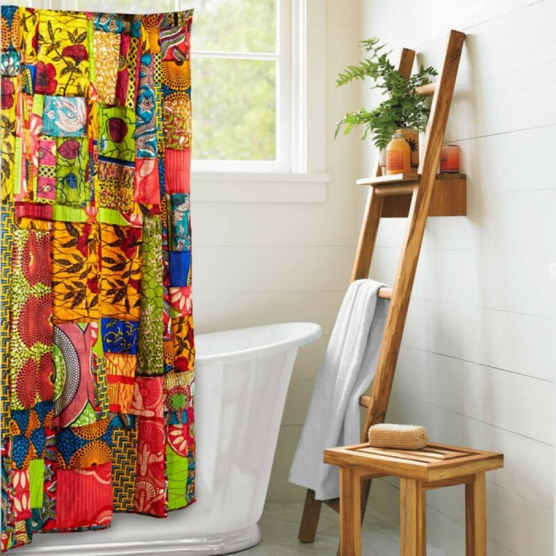 VivaTerra Fabric African Print Patchwork Shower Curtain u0026 Reviews  Wayfair