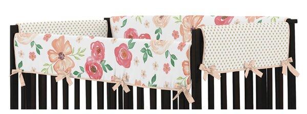 Watercolor Floral Long Crib Rail Guard Cover by Sweet Jojo Designs
