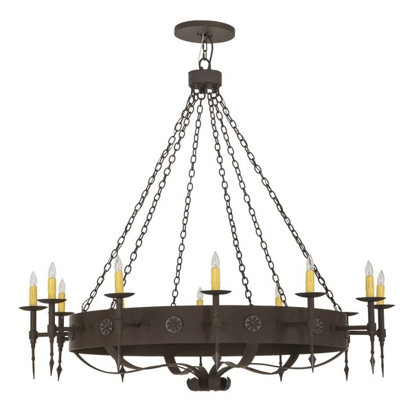 Mccollum 12 - Light Candle Style Wagon Wheel Chandelier By One Allium Way
