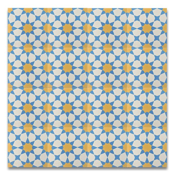 Medina 8 x 8 Cement Tile in Yellow/Blue by Moroccan Mosaic