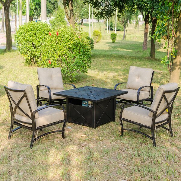 Kemper 5 Piece Firepit Set with Cushions by Darby Home Co