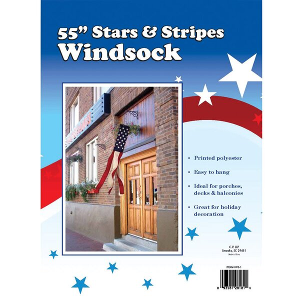 Stars and Stripes 2-Sided Polyester 0.91 x 0.79 ft. Wind Sock by Valley Forge Flag