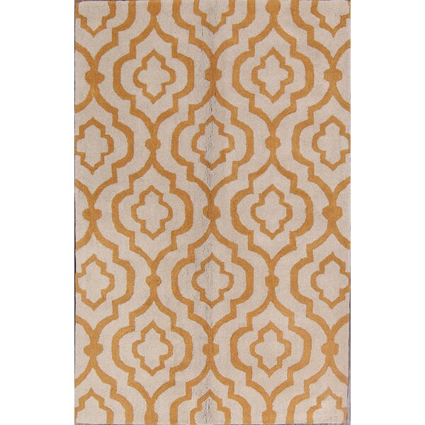 Gillian Moroccan Traditional Indian Trellis Oriental Hand-Tufted Wool Beige/Yellow Area Rug by Darby Home Co