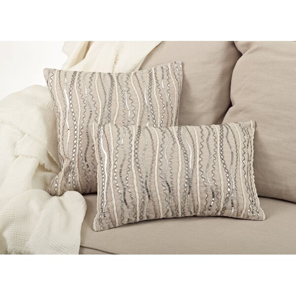 Stella Beaded Cotton Throw Pillow by Saro