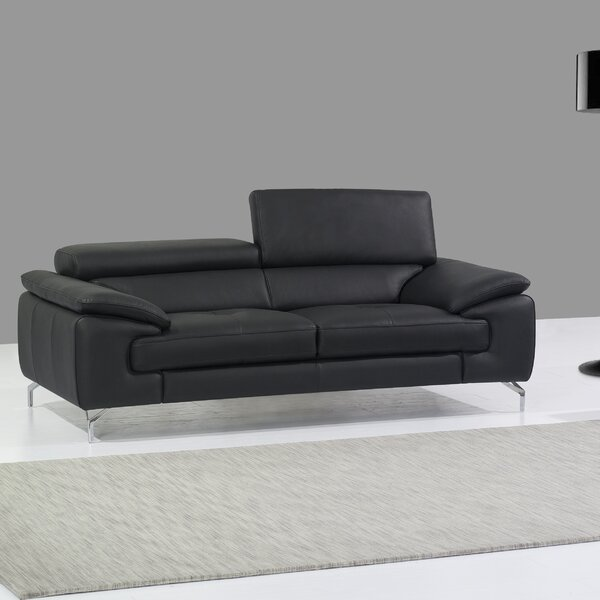 Twining Leather Sofa by Wade Logan