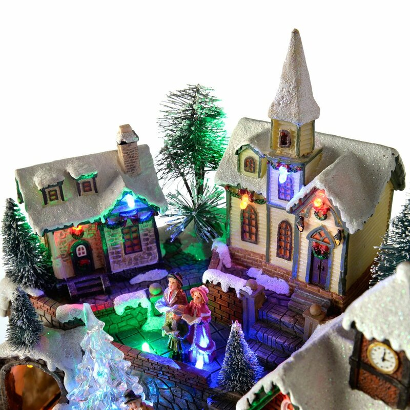 pre lit led musical animated christmas village scene with rotating train - Animated Christmas Scene Decorations