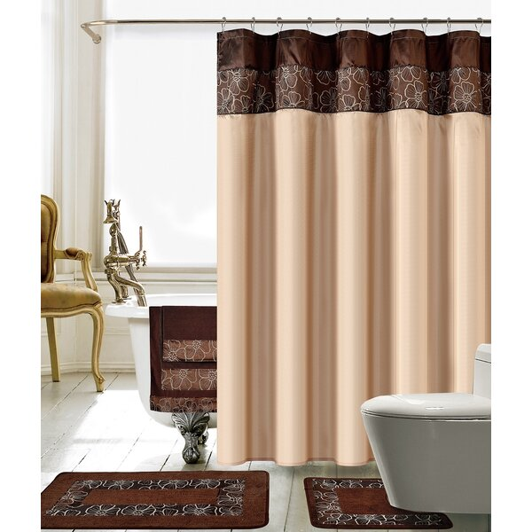 Sanches 18 Piece Embroidery Shower Curtain Set by Latitude Run