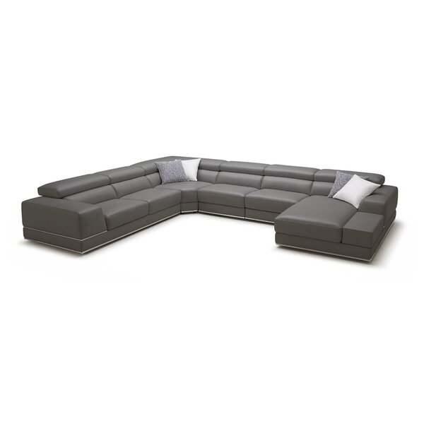 Leather Right Hand Facing Sectional By Wade Logan