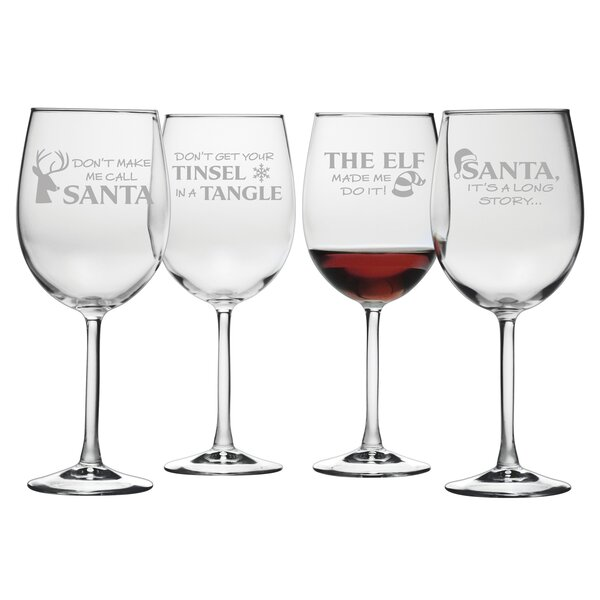 Holiday Hijinks Assortment Glass 19 oz. All Purpose Wine Glass (Set of 4) by The Holiday Aisle