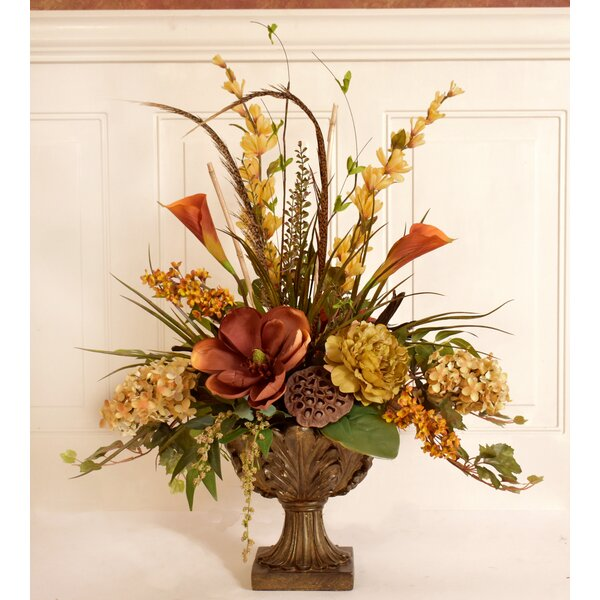 Silk Flower Floral Arrangement in Decorative Vase by Fleur De Lis Living