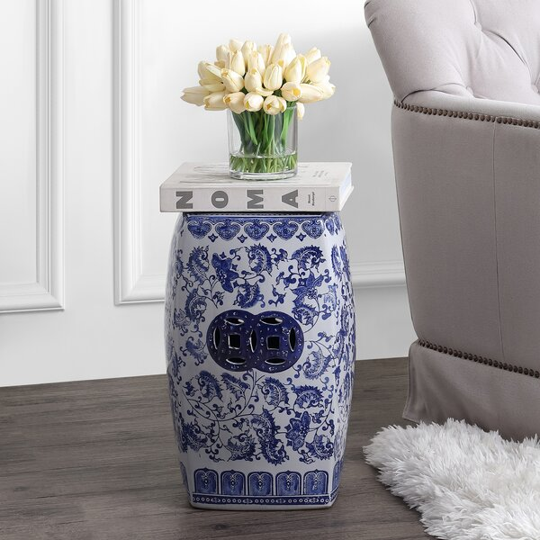 Reimund Chinoiserie Ceramice Square Garden Stool by World Menagerie World Menagerie