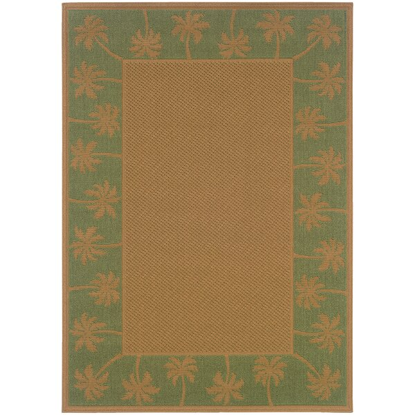 Goldenrod Beige/Green Indoor/Outdoor Area Rug by Bay Isle Home