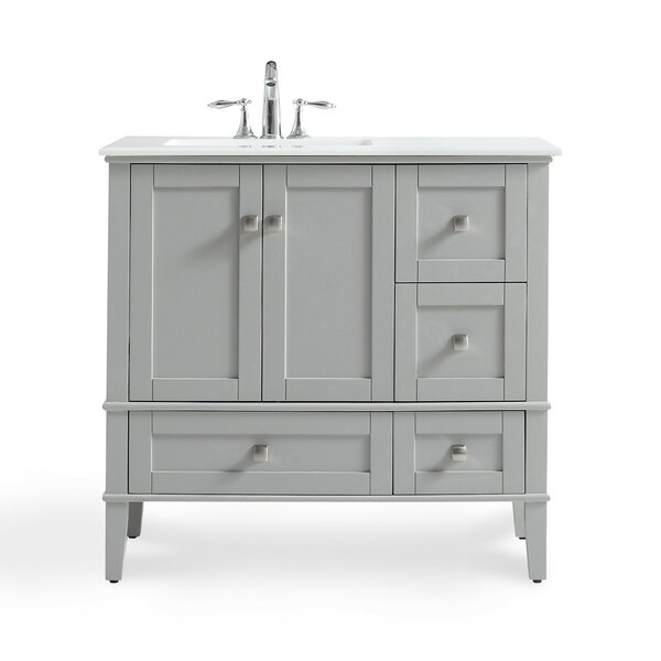 Chelsea Left Offset 37 Single Bathroom Vanity with Quartz Marble Top by Simpli Home