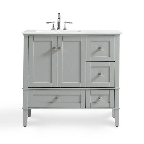 Chelsea Left Offset 37 Single Bathroom Vanity with Quartz Marble Top by Simpli Home