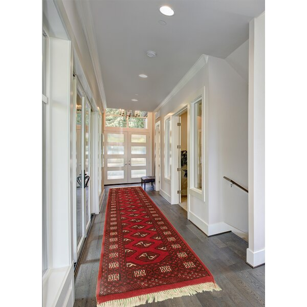Ahkil Hand Knotted Wool Red Rug