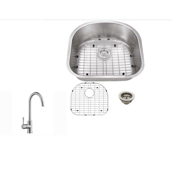16 Gauge Stainless Steel 23.25 L x 20.88 W Undermount Kitchen Sink with Gooseneck Faucet by Soleil
