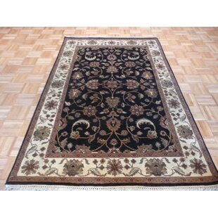 One-of-a-Kind Bearfield Hand-Knotted Wool Black/Beige Area Rug Isabelline