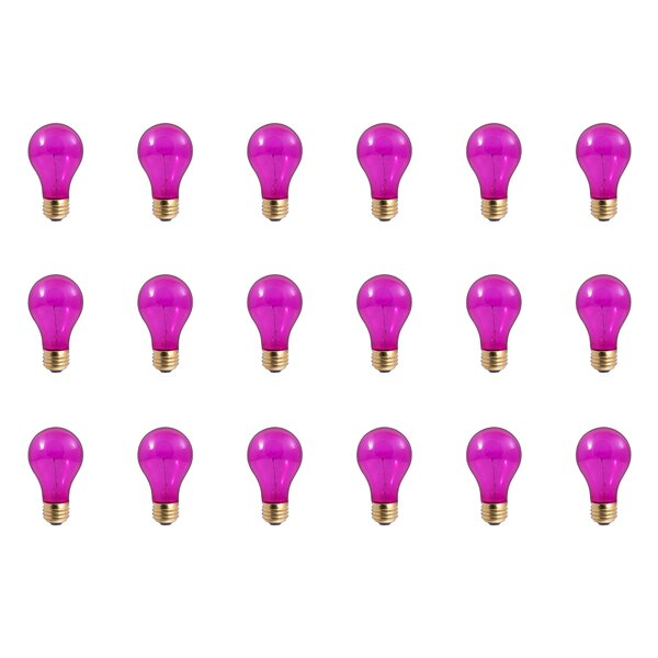 25W E26 Dimmable Incandescent Light Bulb Pink (Set of 18) by Bulbrite Industries