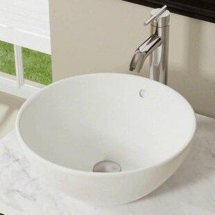 Best Reviews Vitreous China Circular Vessel Bathroom Sink with Overflow ByPolaris Sinks