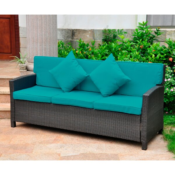 Stapleton Wicker Resin Patio Sofa with Cushions by Charlton Home