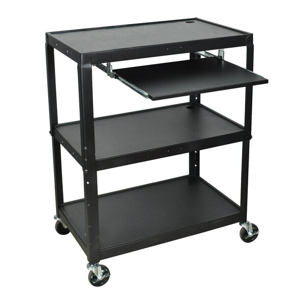 Extra Wide AV Cart with Keyboard Tray by Luxor